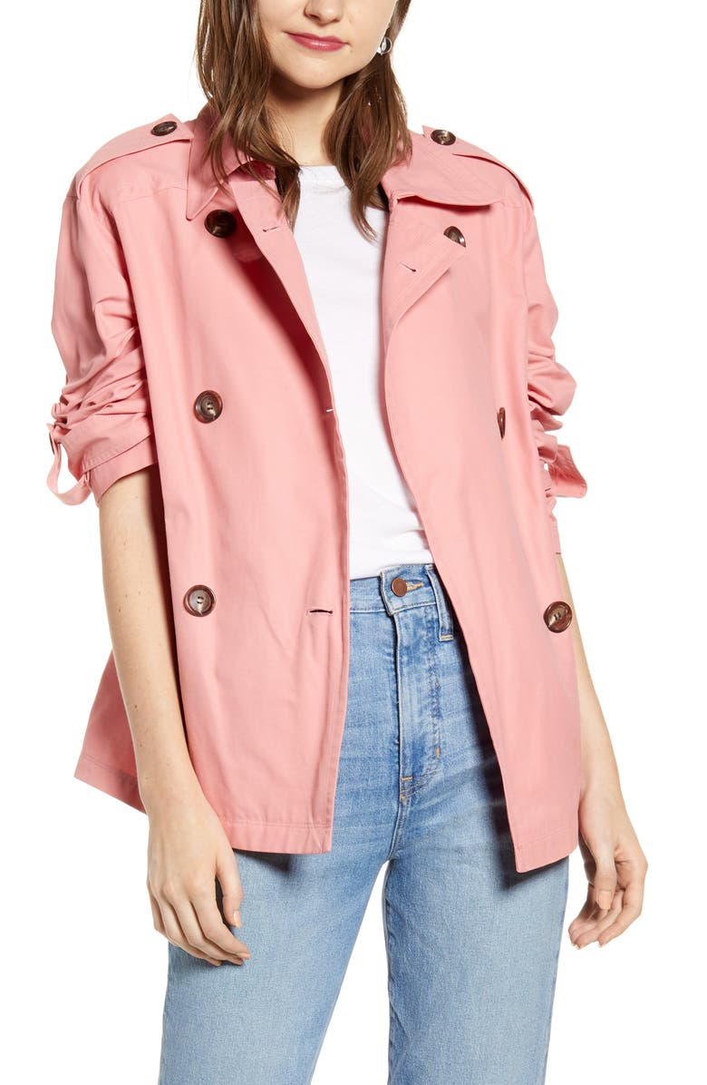SOMETHING NAVY Double Breasted Crop Jacket, Main, color, CORAL MAUVE