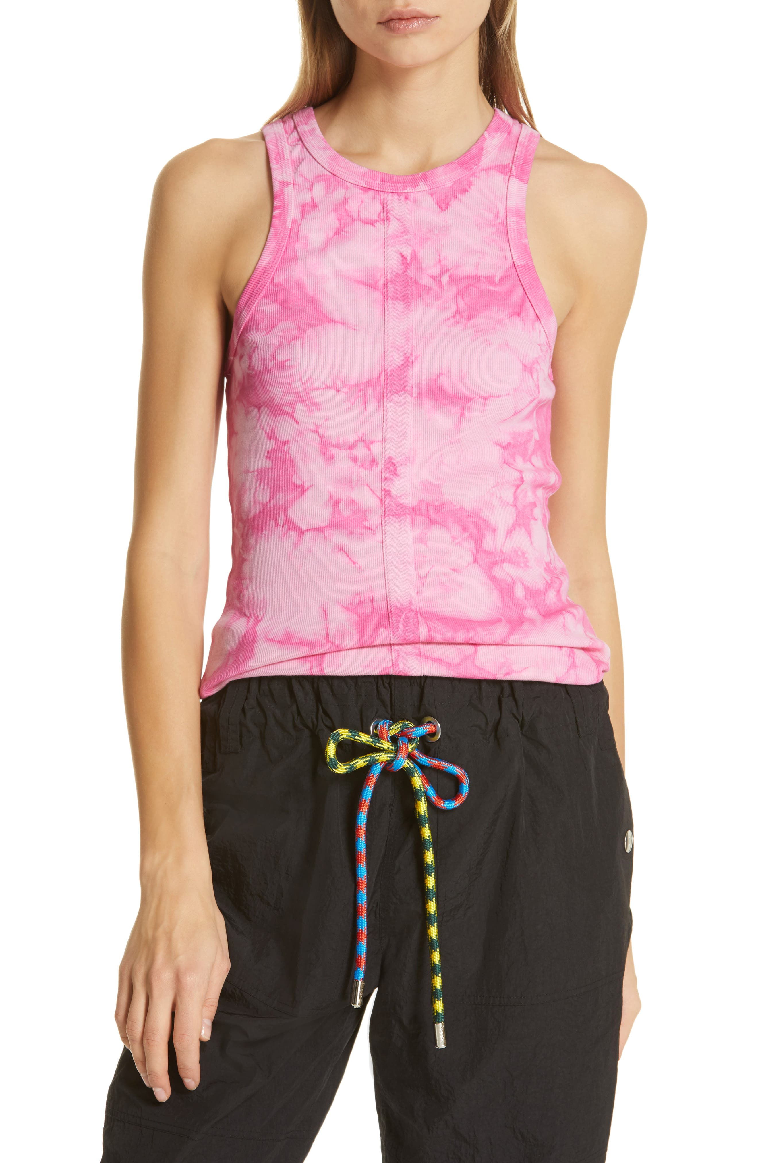 PSWL Tie Dye Ribbed Tank Top, Main, color, ORCHID/ PINK