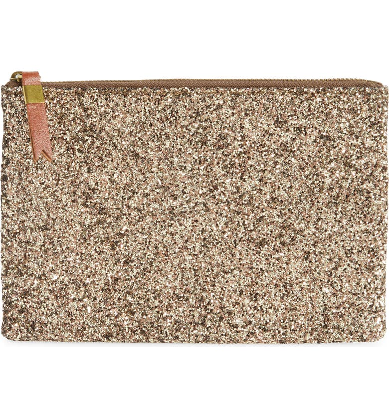 MADEWELL The Glitter Leather Pouch Clutch, Main, color, 715