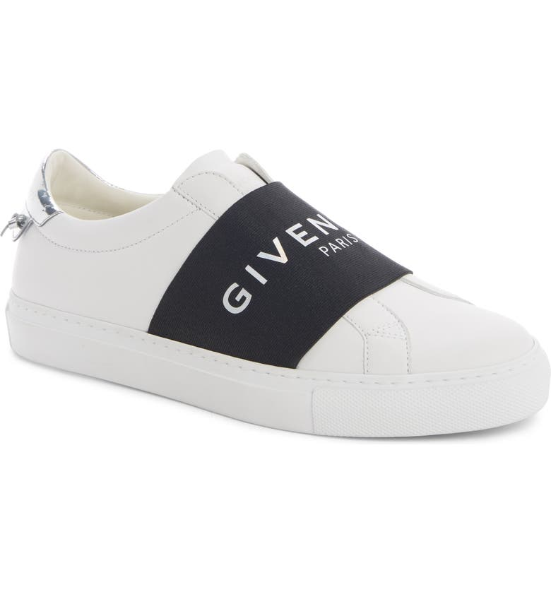 GIVENCHY Urban Street Logo Band Slip-On Sneaker, Main, color, WHITE/ BLACK