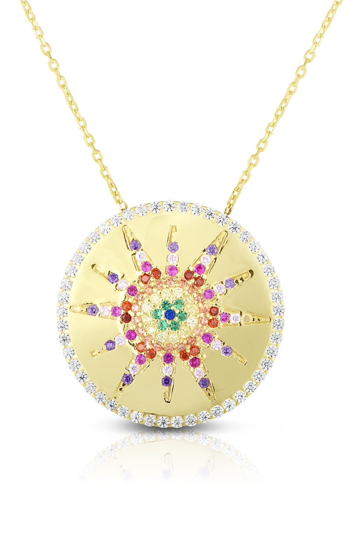 Sphera Milano 14K Yellow Gold Plated Sterling Silver Pave Rainbow CZ Medallion Pendant Necklace at Nordstrom Rack
