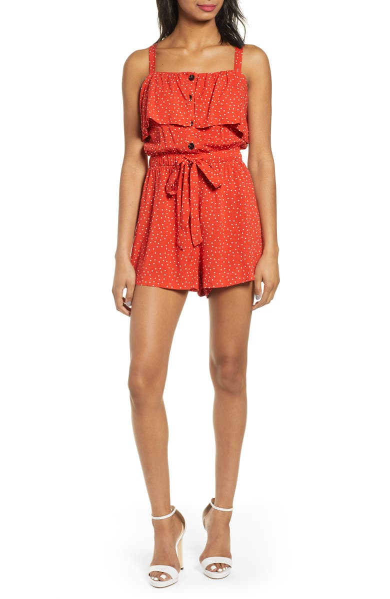 ALL IN FAVOR Button Front Romper, Main, color, RUST/ IVORY