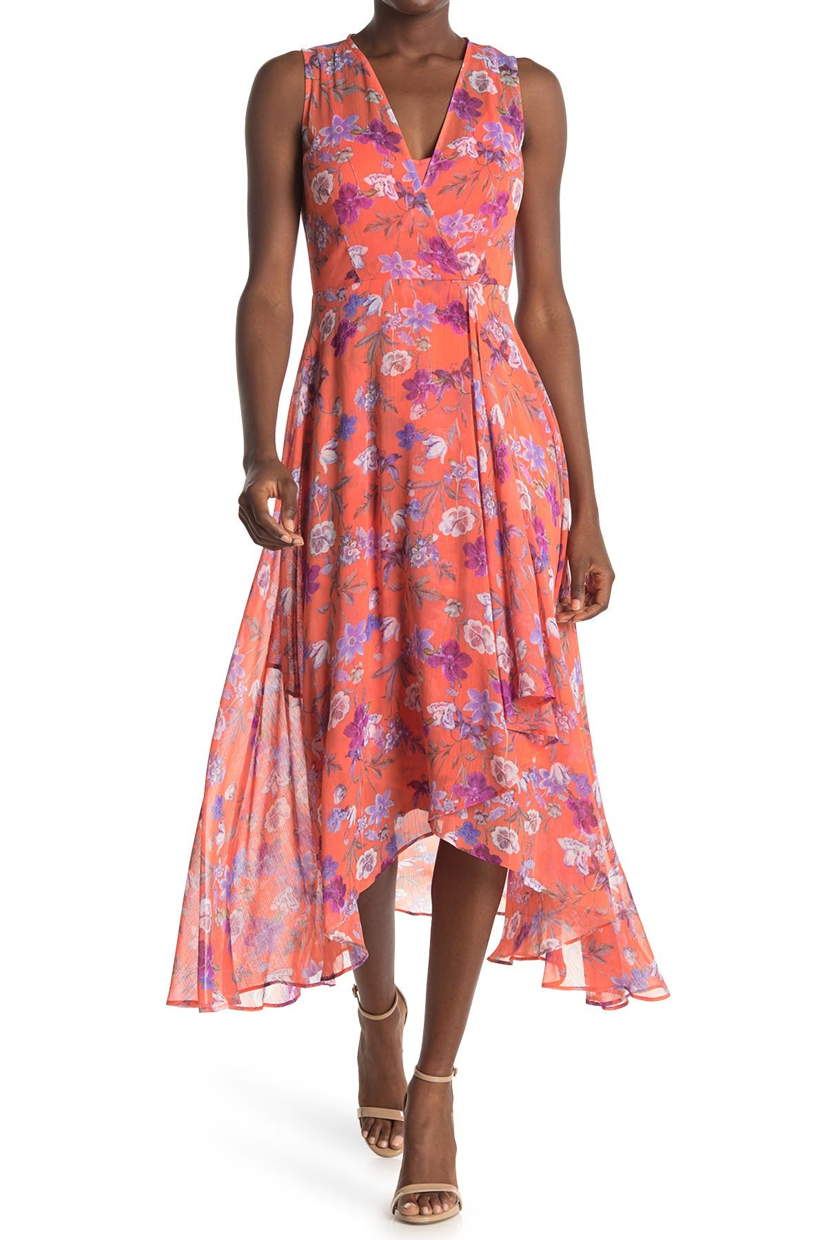 Image of Calvin Klein Floral Handkerchief Hem Midi Dress