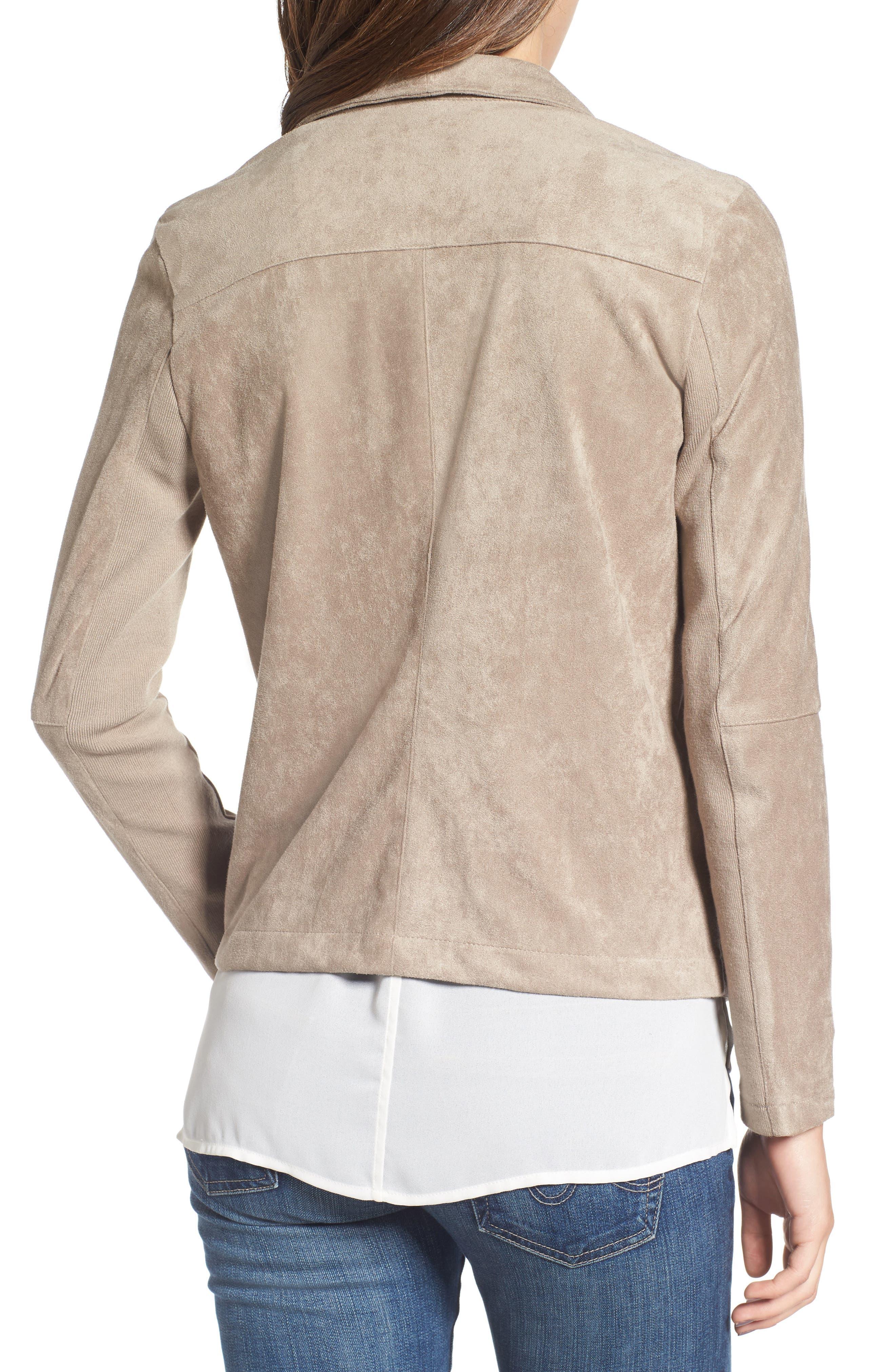 ,                             Nicholson Faux Suede Drape Front Jacket,                             Alternate thumbnail 77, color,                             203
