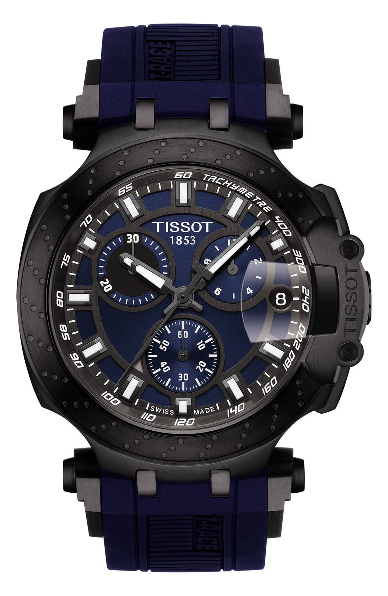 TISSOT T-Race Chronograph Silicone Strap Watch, 48mm, Main, color, BLUE/ GREY