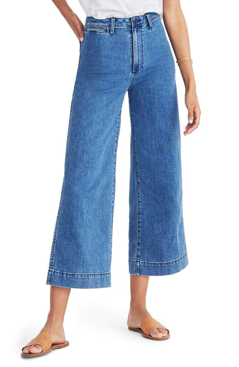 MADEWELL Emmett High Waist Crop Wide Leg Jeans, Main, color, 400