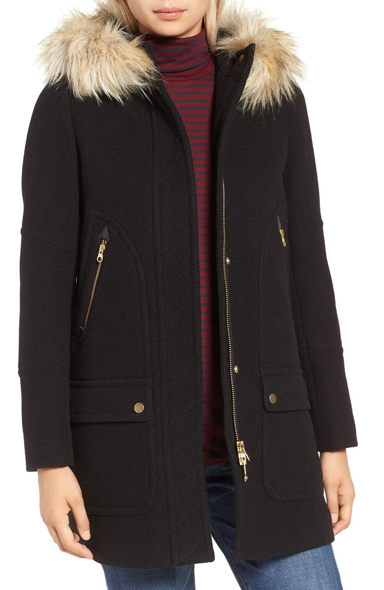 J.CREW Chateau Stadium Cloth Parka with Faux Fur, Main, color, 001