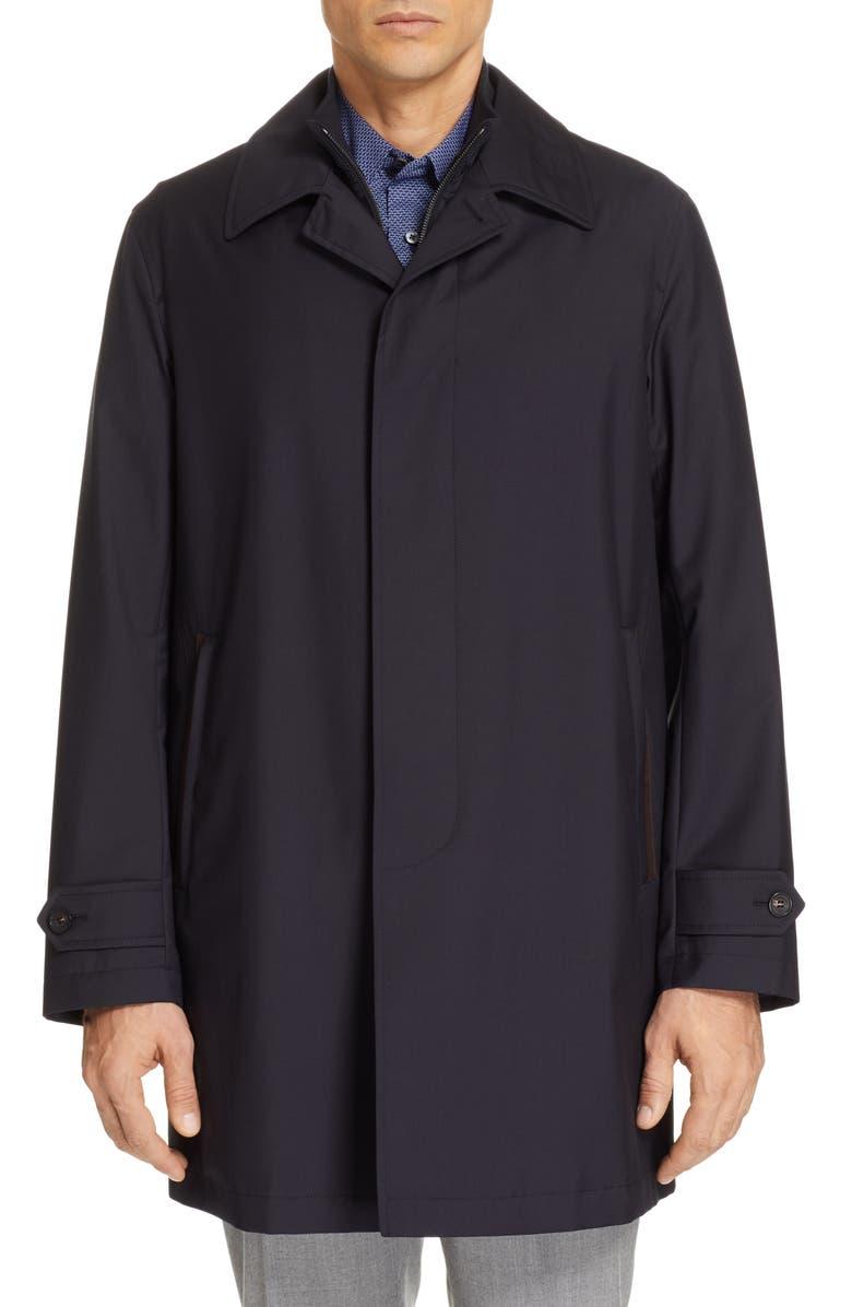ERMENEGILDO ZEGNA Achill Elements Wool & Silk 3-in-1 Coat, Main, color, 412