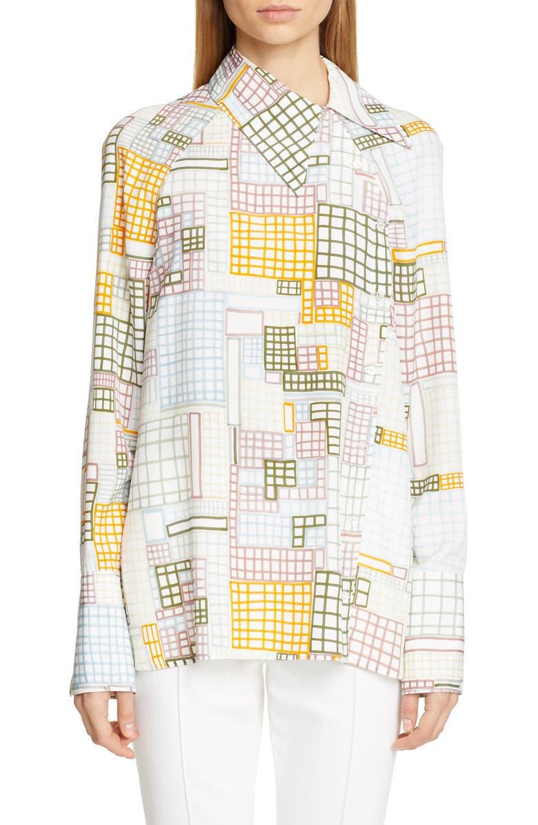 ROSETTA GETTY Grid Print Asymmetrical Blouse, Main, color, MUTLI