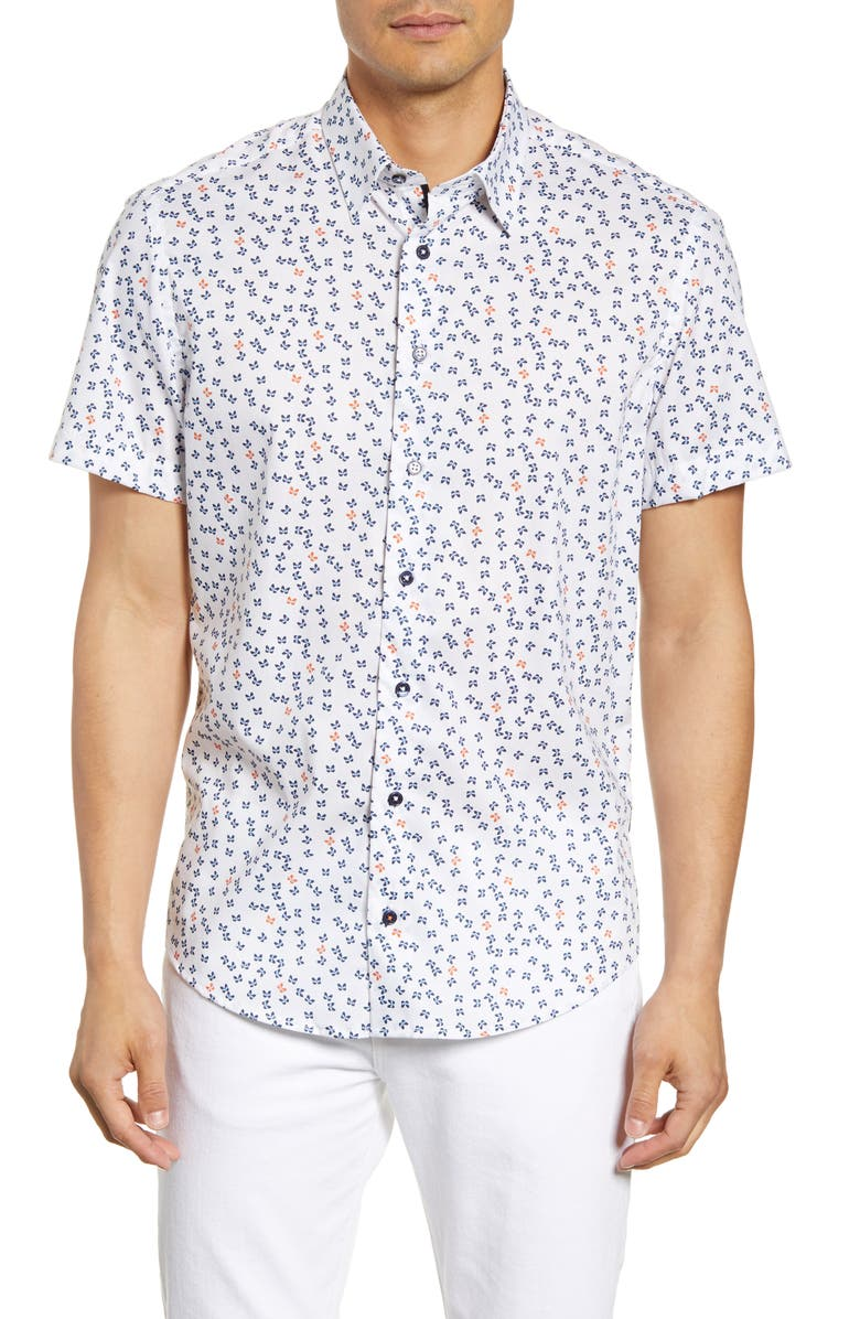 STONE ROSE Regular Fit Short Sleeve Button-Up Shirt, Main, color, NAVY
