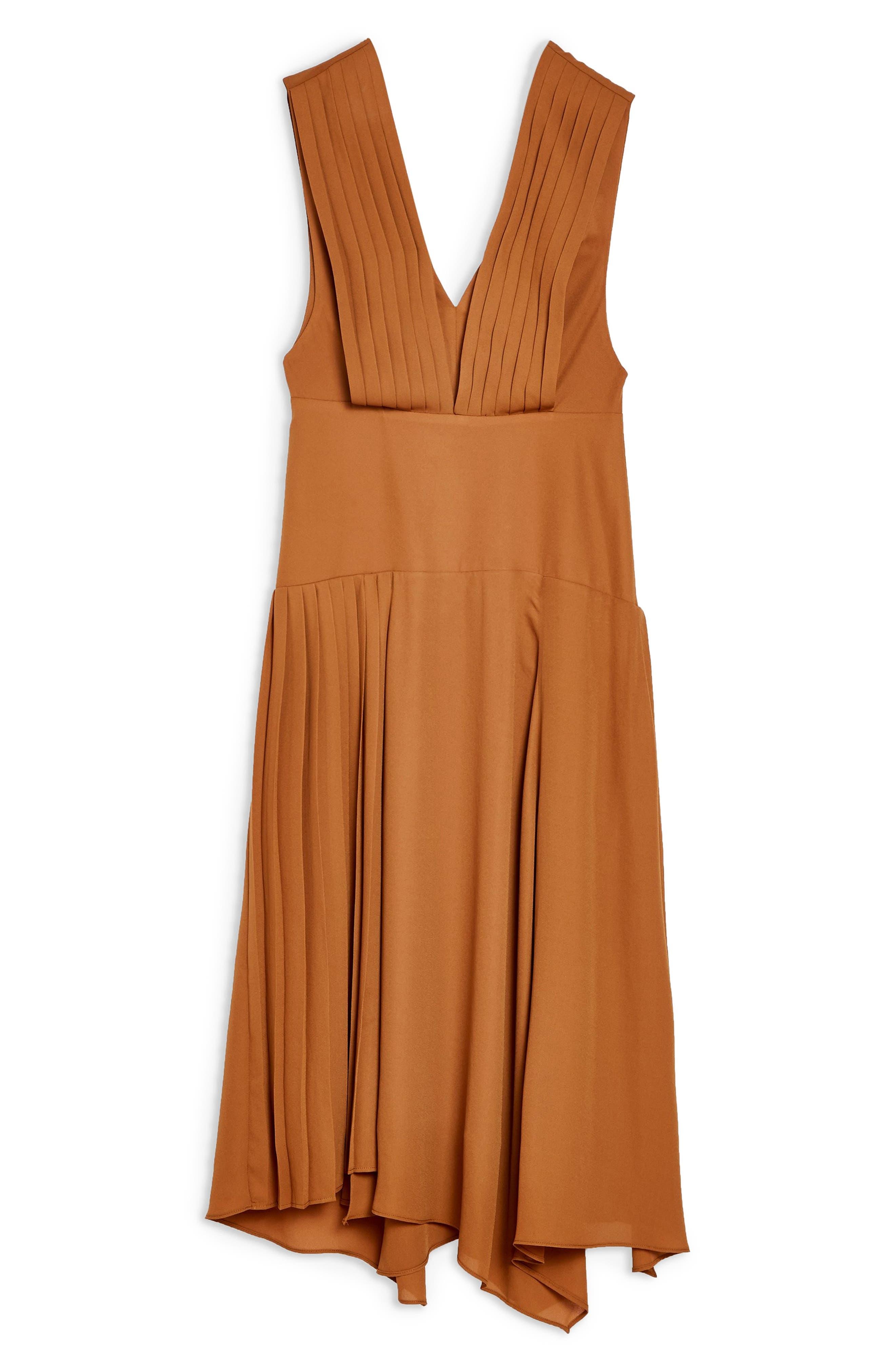 ,                             Pleated Pinafore Midi Dress,                             Alternate thumbnail 9, color,                             200