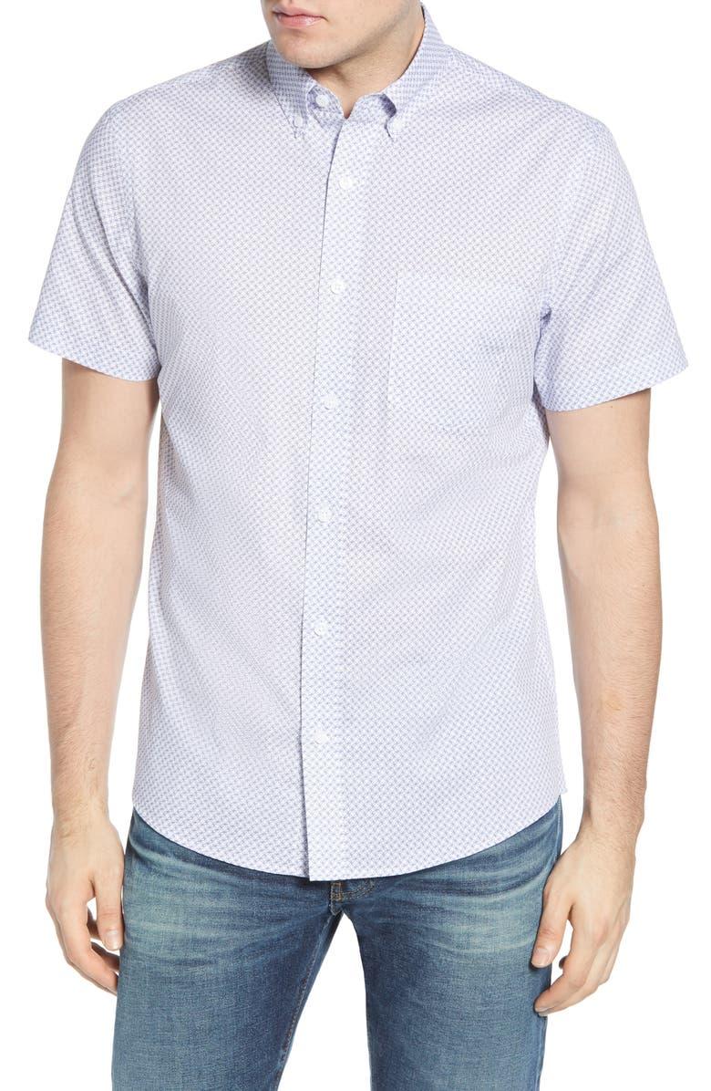 NORDSTROM MEN'S SHOP Nordstrom Mens Shop Regular Fit Short Sleeve Button-Down Shirt, Main, color, WHITE NAVY RETRO GEO