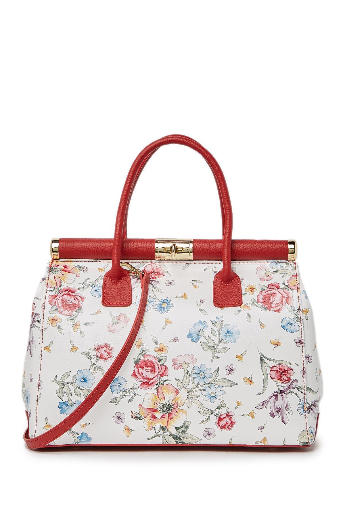 Image of Renata Corsi Floral Leather Shoulder Bag