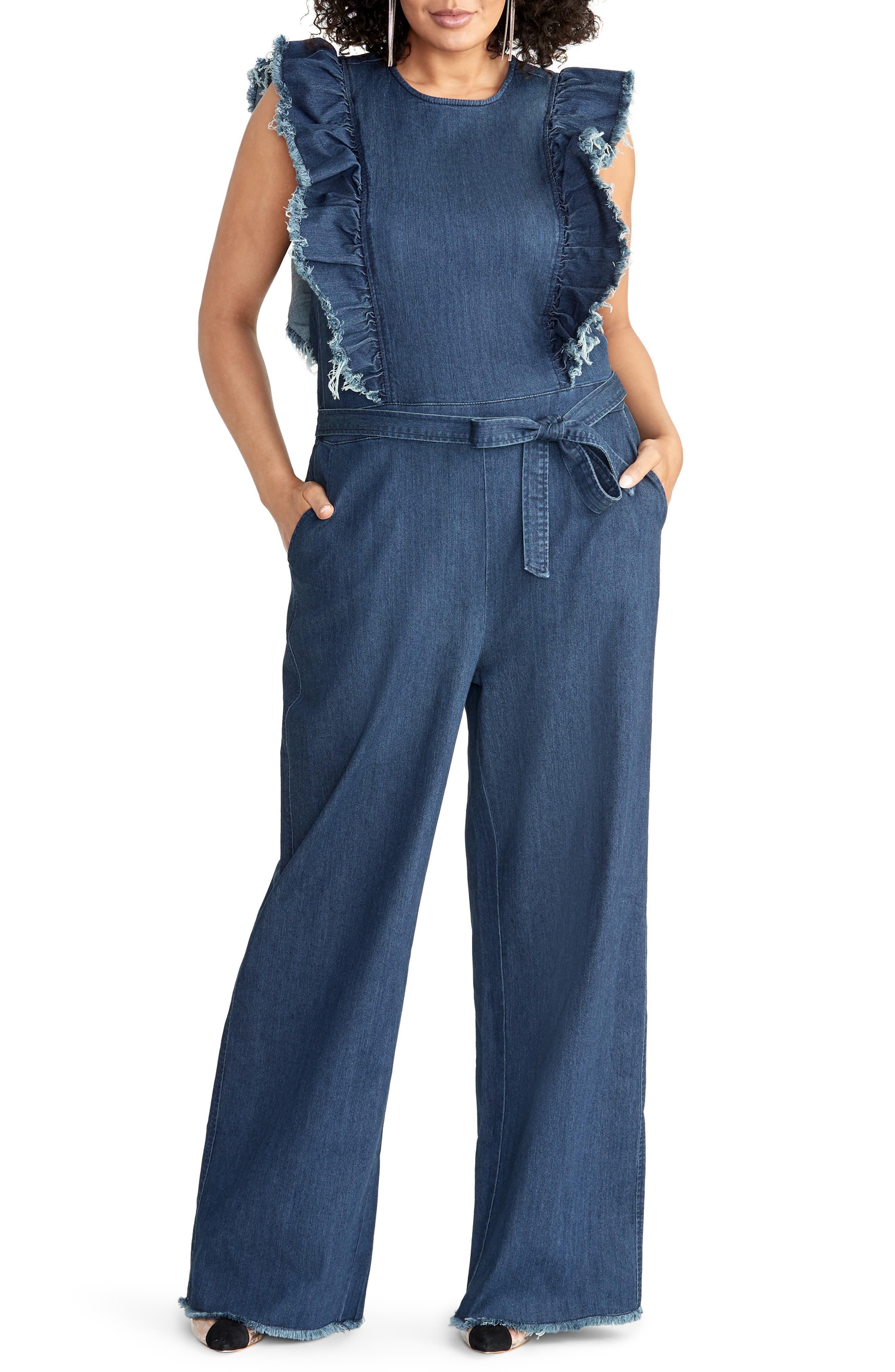 70s Jumpsuit | Disco Jumpsuits – Sequin, Striped, Gold, White, Black Plus Size Womens Rachel Rachel Roy Nikita Ruffle Denim Jumpsuit $179.00 AT vintagedancer.com