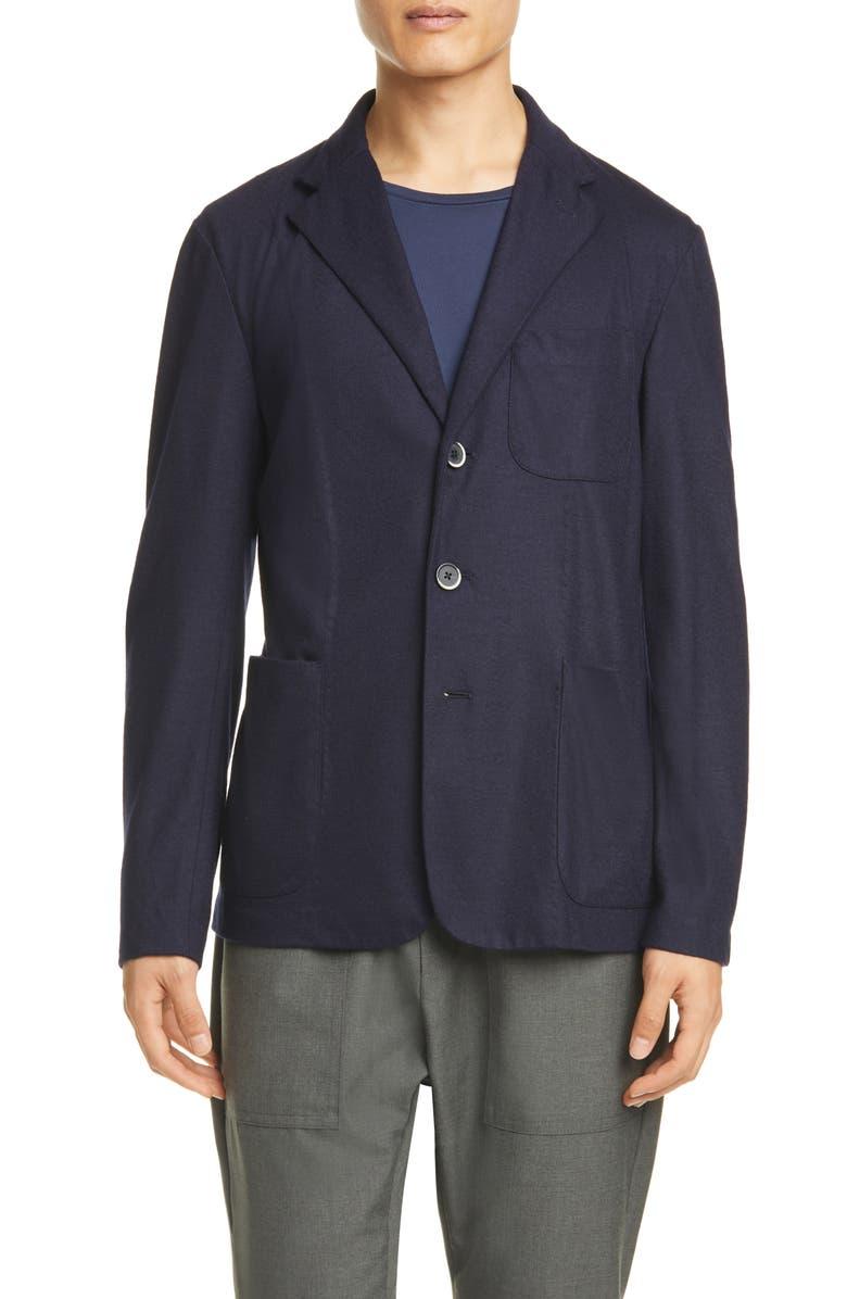 BARENA VENEZIA Torceo Navy Wool Sport Coat, Main, color, NAVY