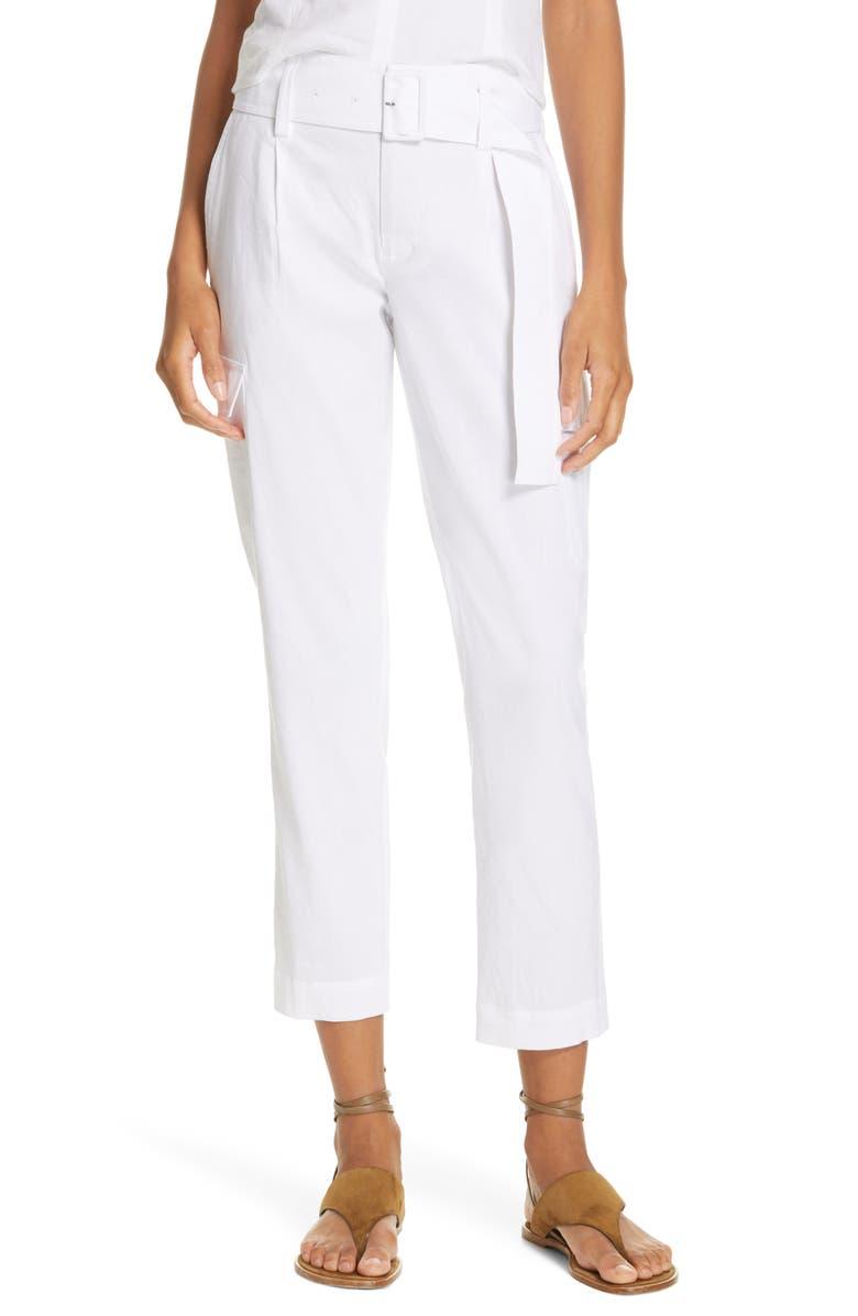 VINCE Belted Linen Blend Pants, Main, color, OPTIC WHITE