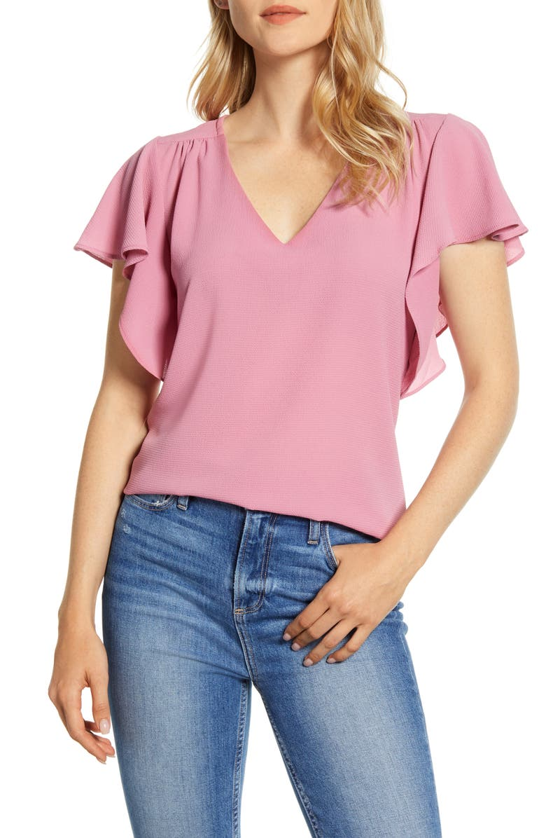 BOBEAU V-Neck Flutter Sleeve Blouse, Main, color, VIOLET KISS