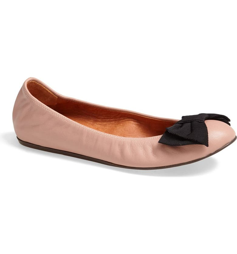 LANVIN Bow Leather Ballerina Flat, Main, color, 250