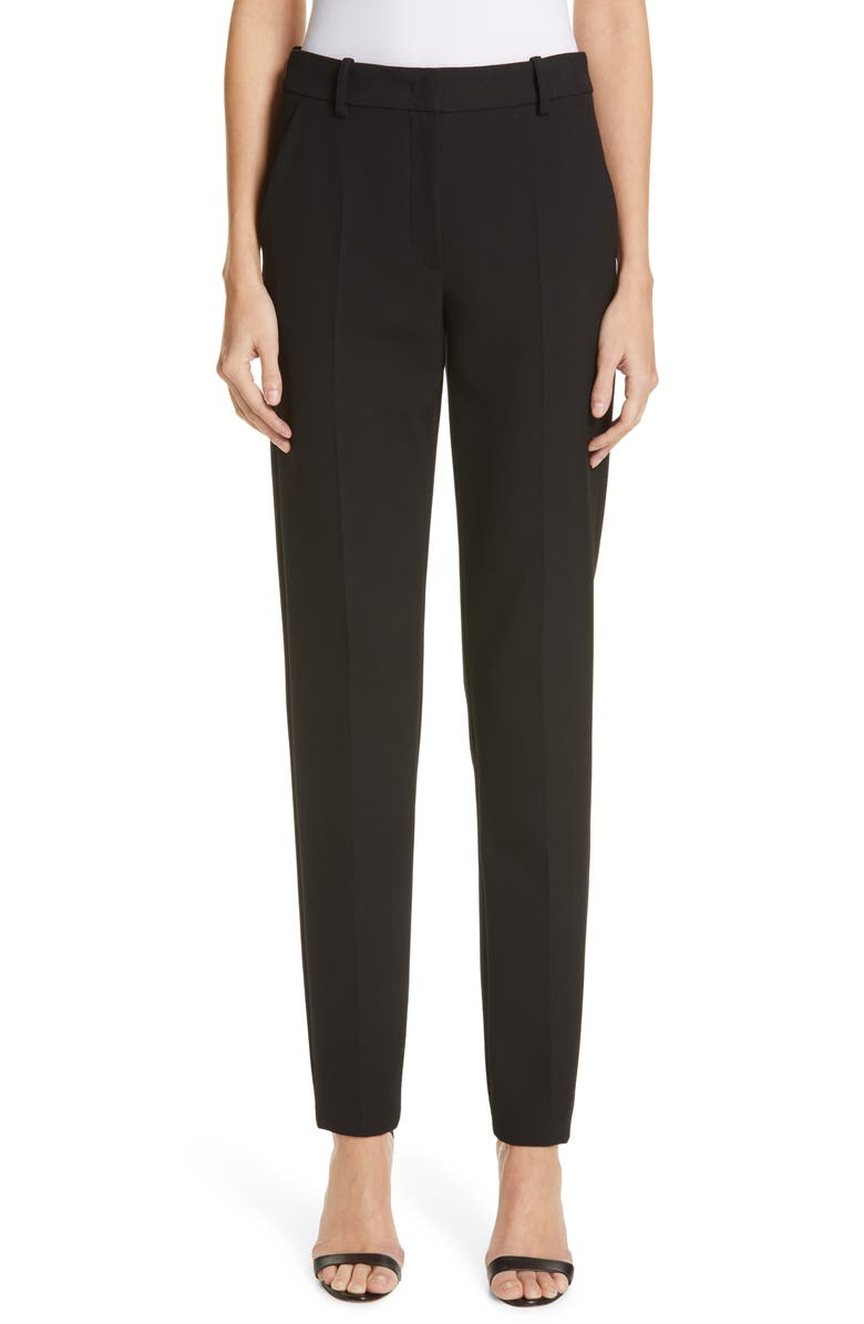 EMPORIO ARMANI Flat Front Techno Cady Pants, Main, color, BLACK