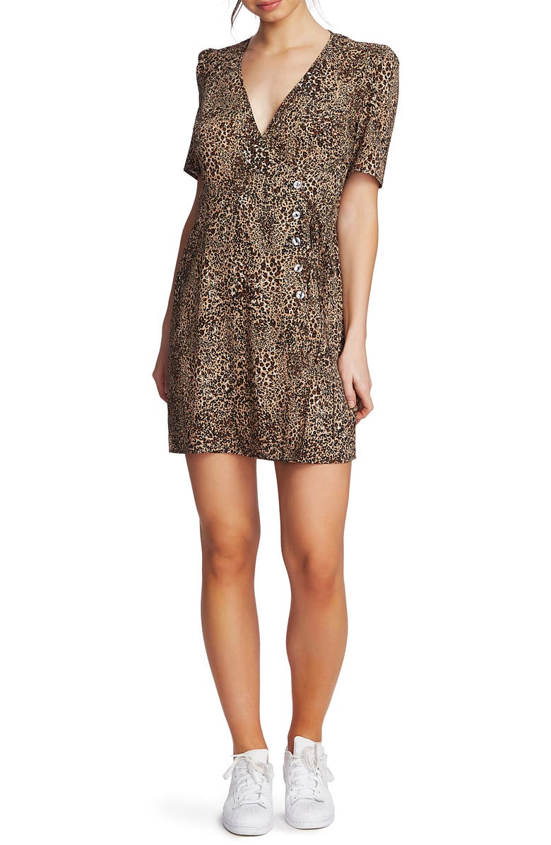 1 STATE Asymmetrical Button Leopard Print Minidress