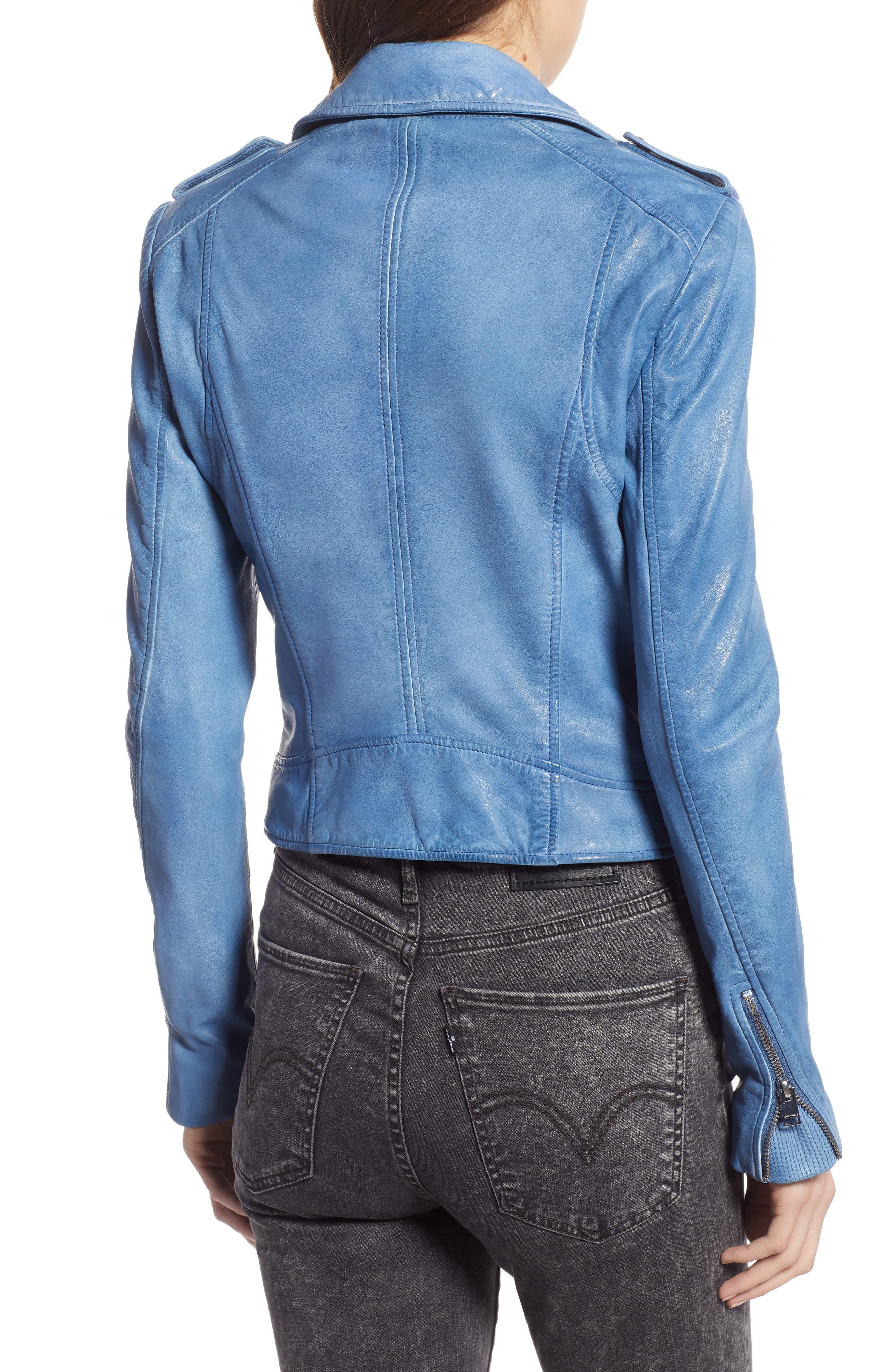 ,                             Donna Lambskin Leather Moto Jacket,                             Alternate thumbnail 2, color,                             FADED DENIM