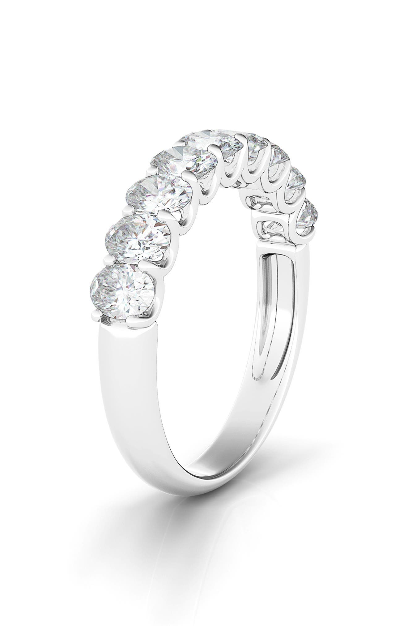 Half Oval Cut Lab Created Diamond 14K Gold Eternity Ring