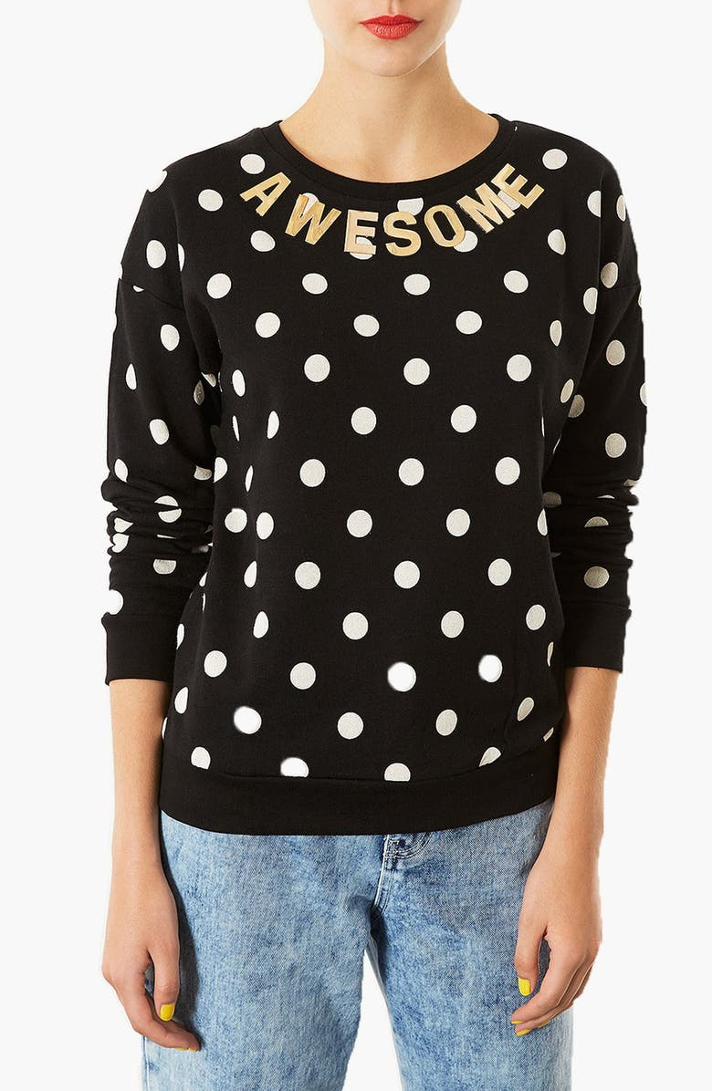 TOPSHOP Spotted Slogan Sweatshirt, Main, color, 001