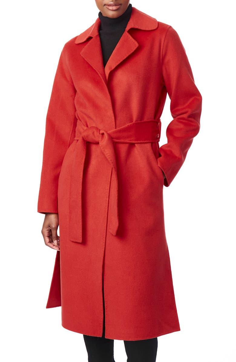 BERNARDO Belted Long Coat, Main, color, RED