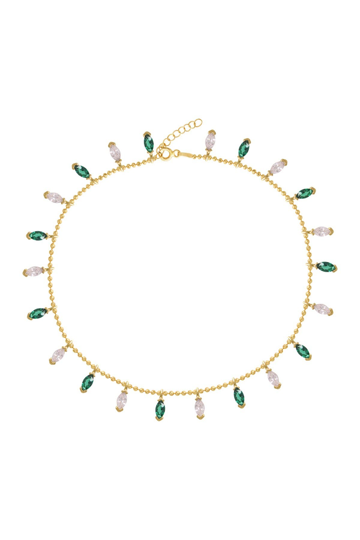 Image of Gabi Rielle 14K Gold Plated Emerald and Diamondette Marquis Anklet