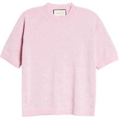 Gucci Gg Logo Metallic Jacquard Wool Blend Sweater, Pink