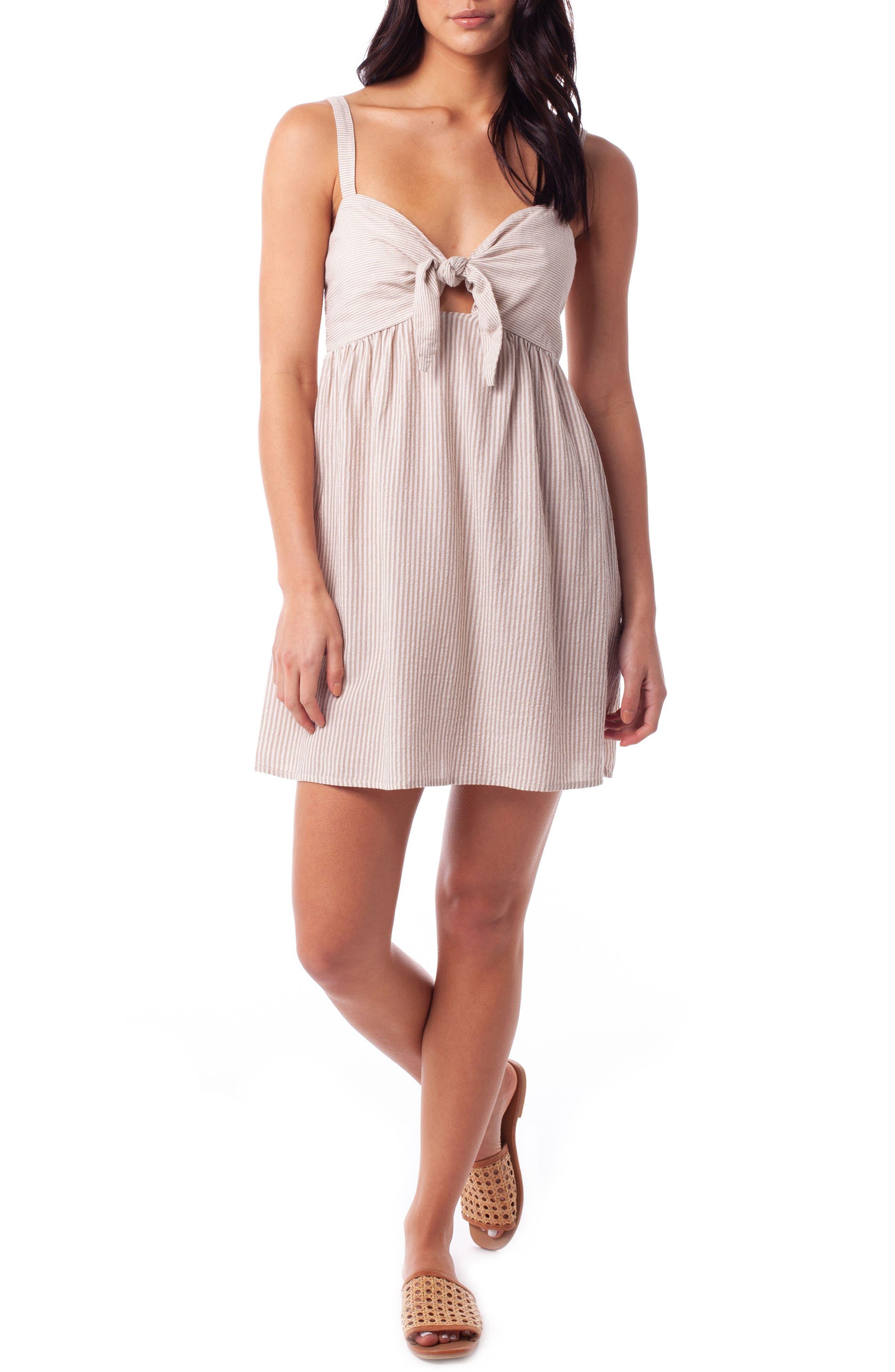 Rhythm Cancun Seersucker Cover-Up Dress, Beige