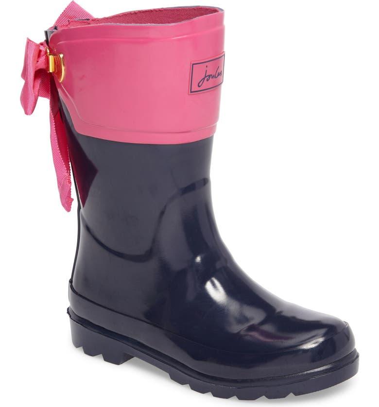JOULES Evedon Bow Waterproof Rain Boot, Main, color, 400