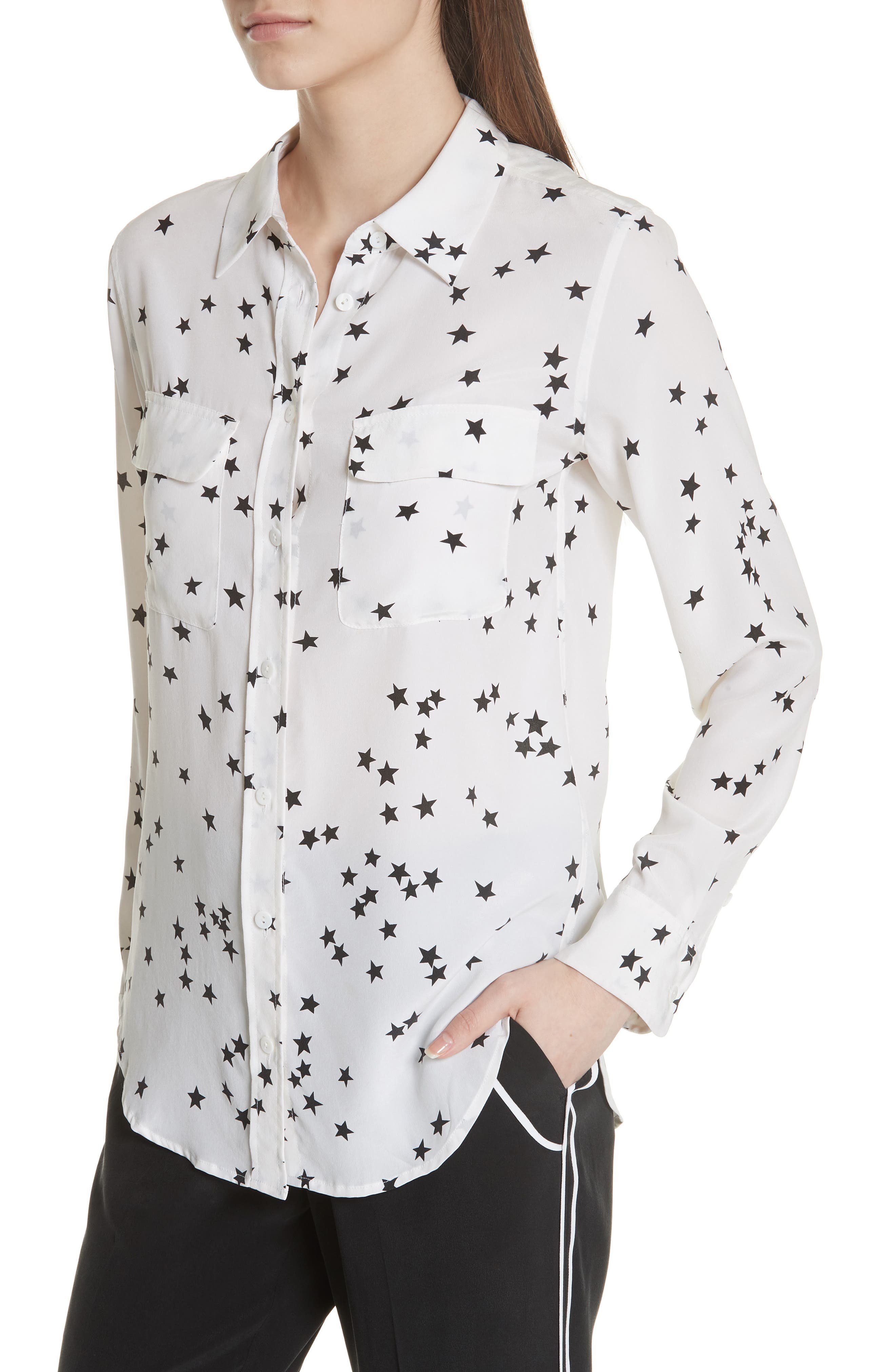 ,                             'Starry Night' Silk Shirt,                             Alternate thumbnail 4, color,                             BRIGHT WHITE/ BLACK