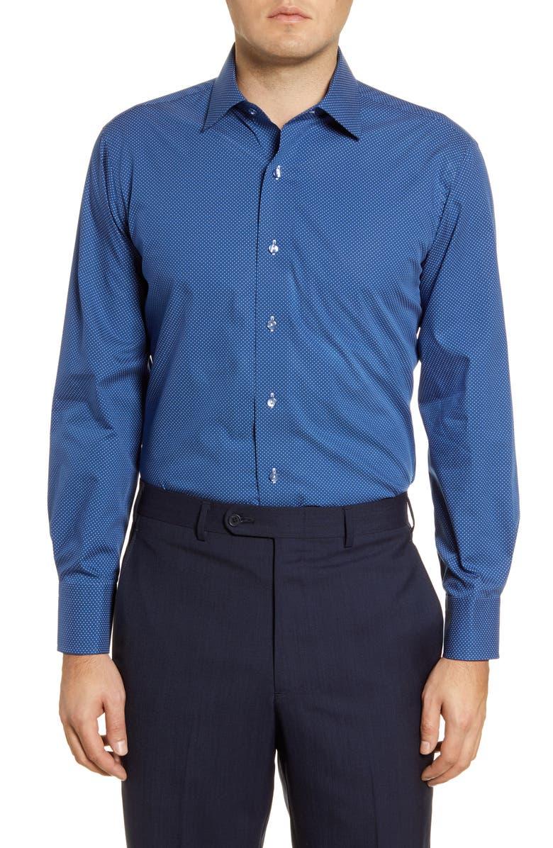 LORENZO UOMO Trim Fit Dot Print Dress Shirt, Main, color, 410