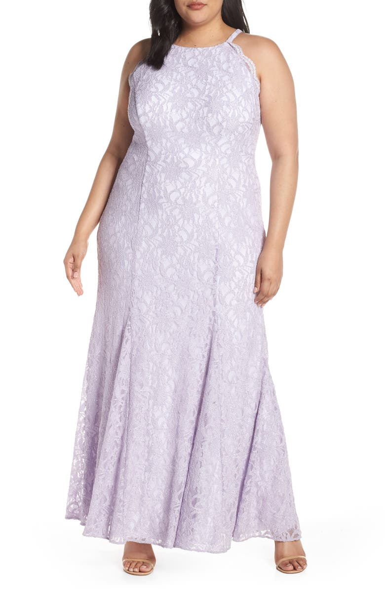 MORGAN & CO. Halter Bodice Glitter Lace Evening Dress, Main, color, LAVENDER/ IVORY