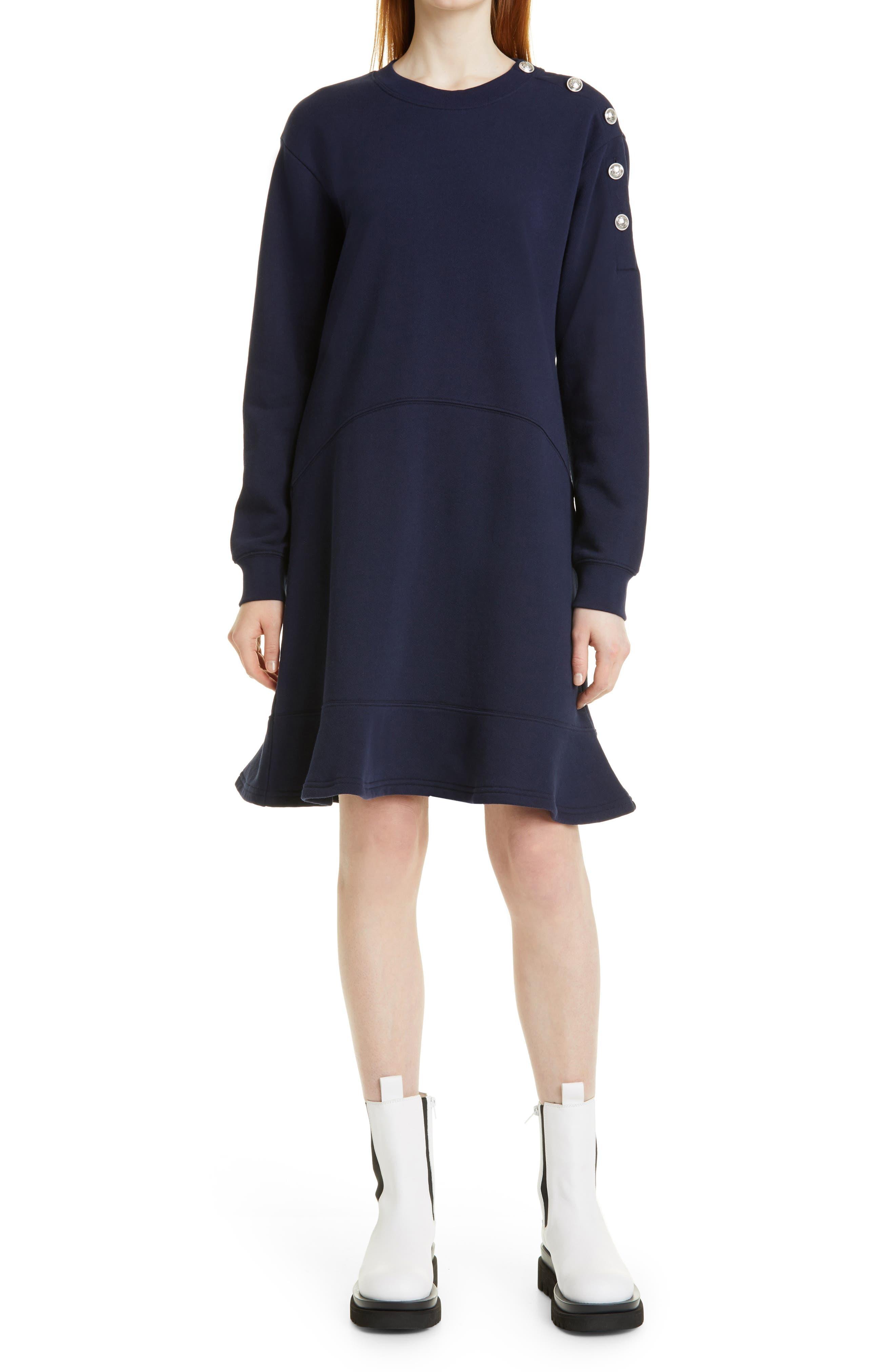 Camden Sailor Button Long Sleeve Cotton Fleece Dress
