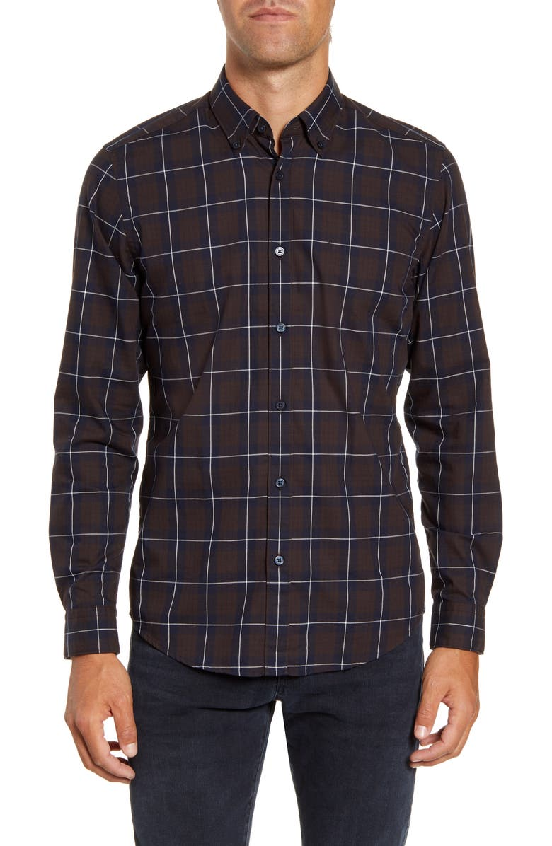 BOSS Regular Fit Windowpane Button-Down Shirt, Main, color, DARK BROWN