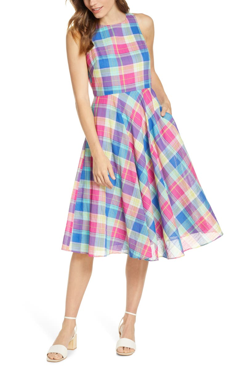 1901 Madras Plaid Fit Amp Flare Dress Nordstrom
