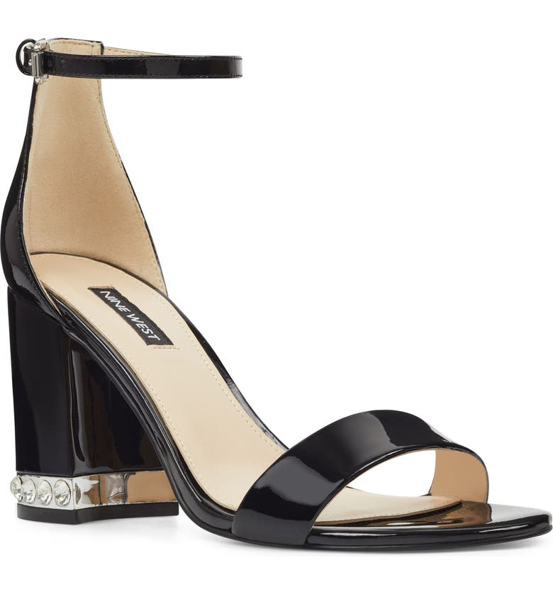 NINE WEST Abigail Crystal Embellished Ankle Strap Sandal, Main, color, BLACK PATENT LEATHER