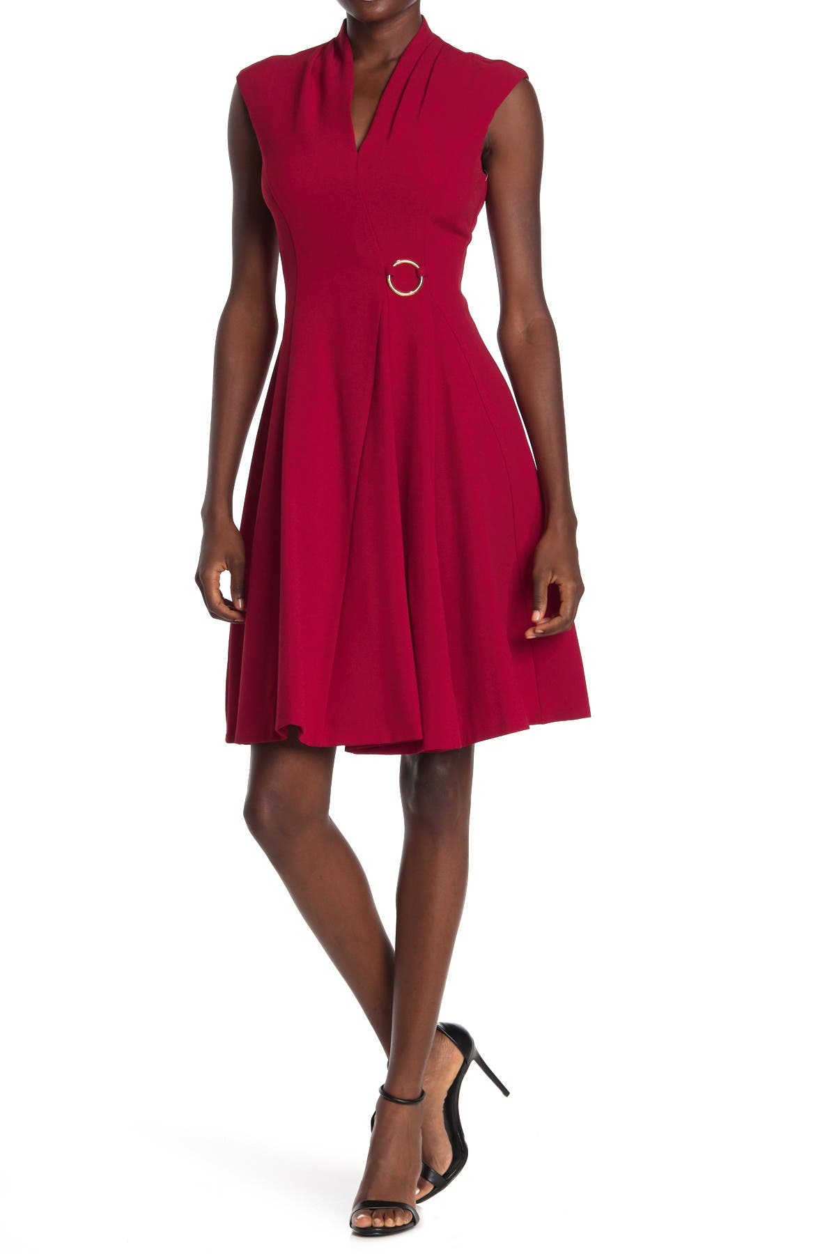 Image of London Times Crepe Cap Sleeve Fit & Flare Dress
