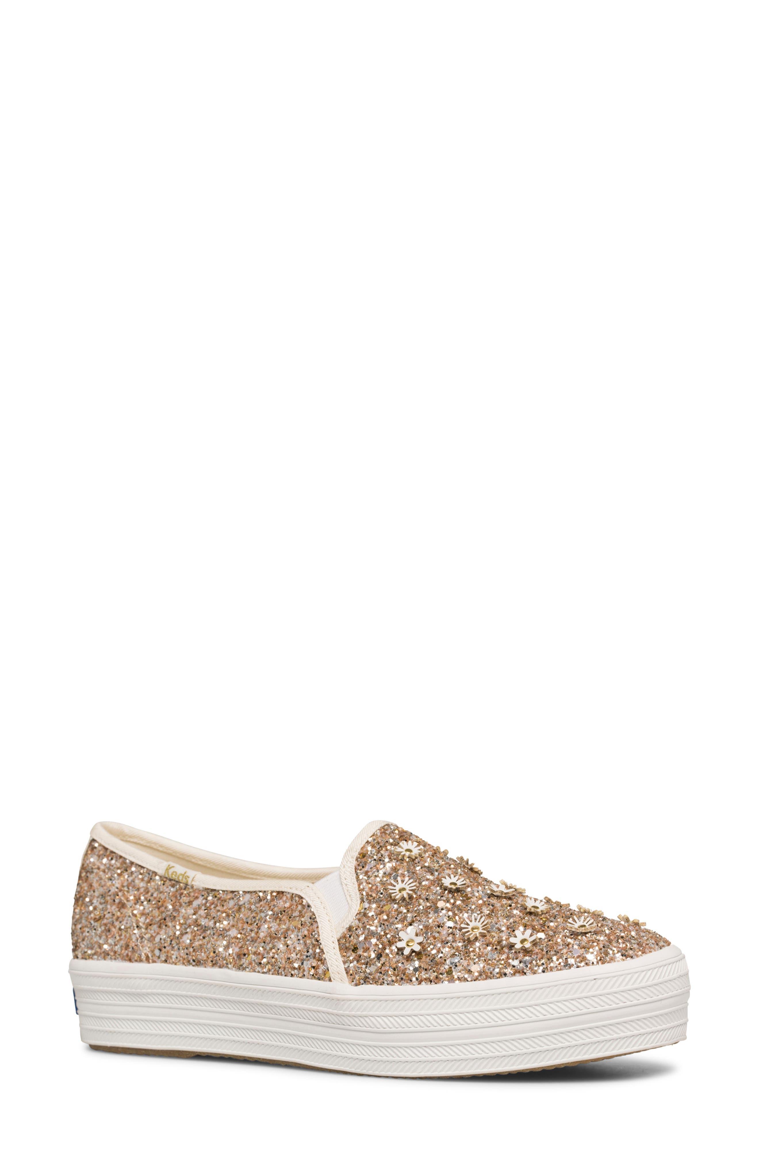 Women's Keds X Kate Spade New York Triple Decker Glitter Slip-On Sneaker