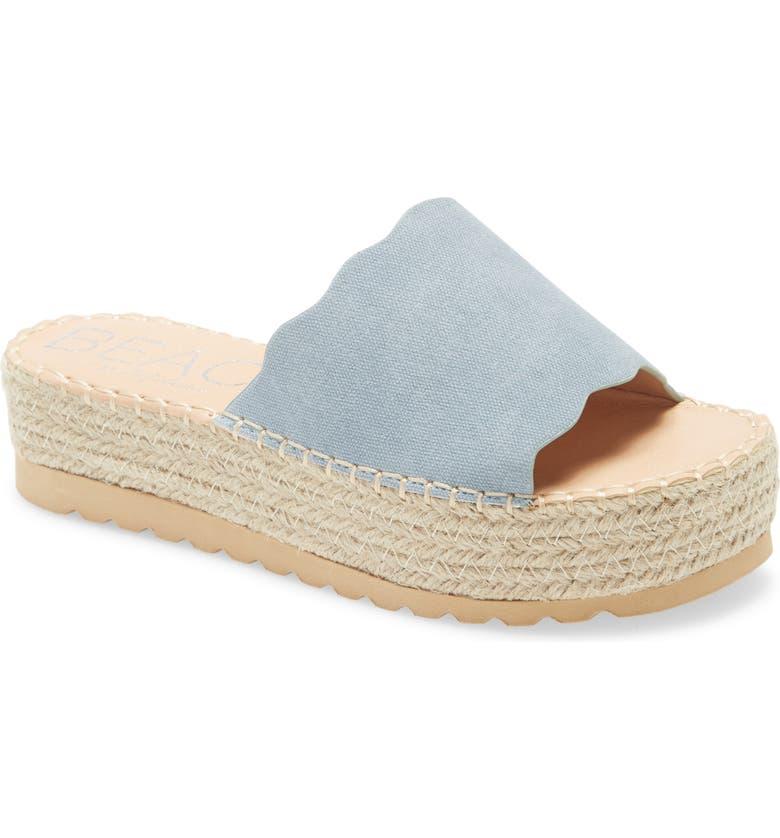 BEACH BY MATISSE Palm Platform Slide Sandal, Main, color, BLUE FABRIC