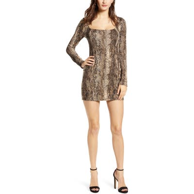 All In Favor Ribbed Long Sleeve Body-Con Minidress, Brown