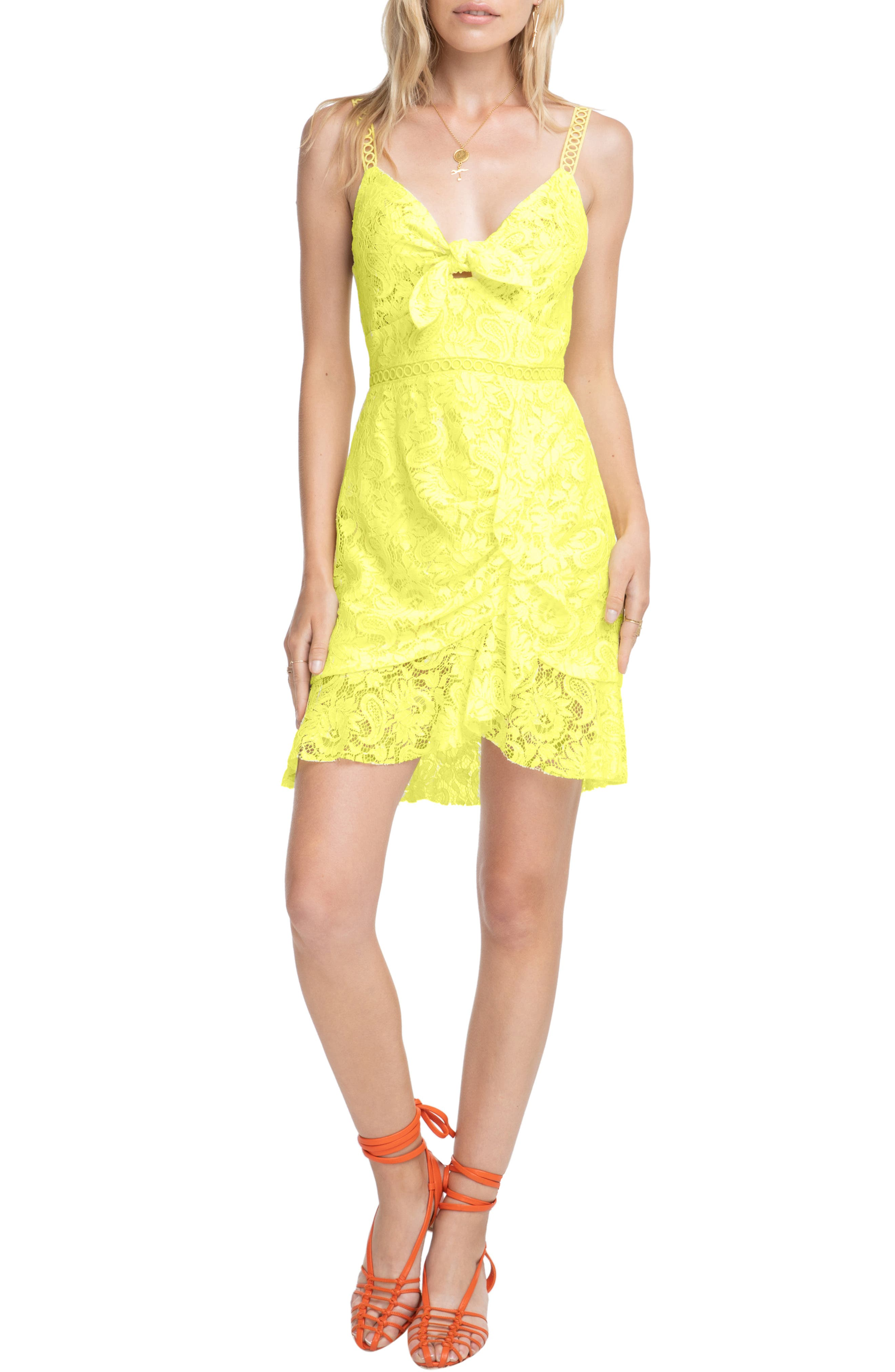 Astr The Label Joey Lace Slipdress, Yellow