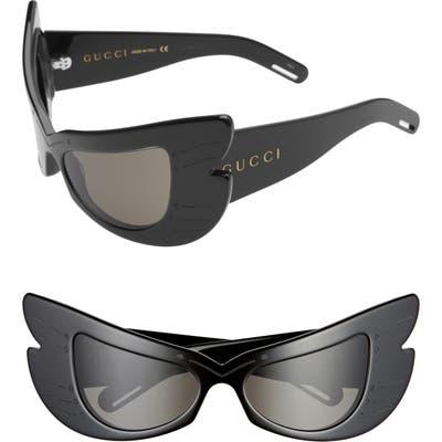 Gucci 57mm Butterfly Shield Sunglasses - Black/ Grey