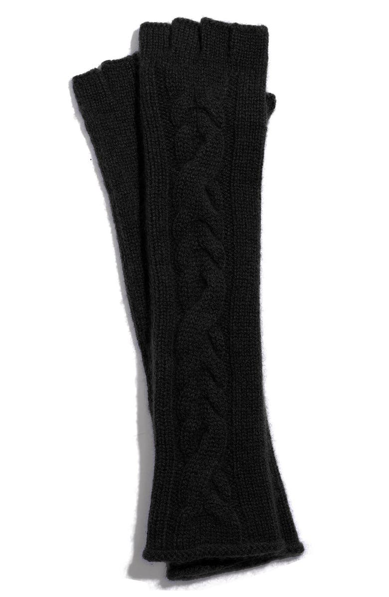 NORDSTROM Cable Knit Cashmere Fingerless Gloves, Main, color, 001
