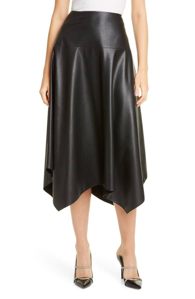 REBECCA TAYLOR Faux Leather Skirt, Main, color, BLACK