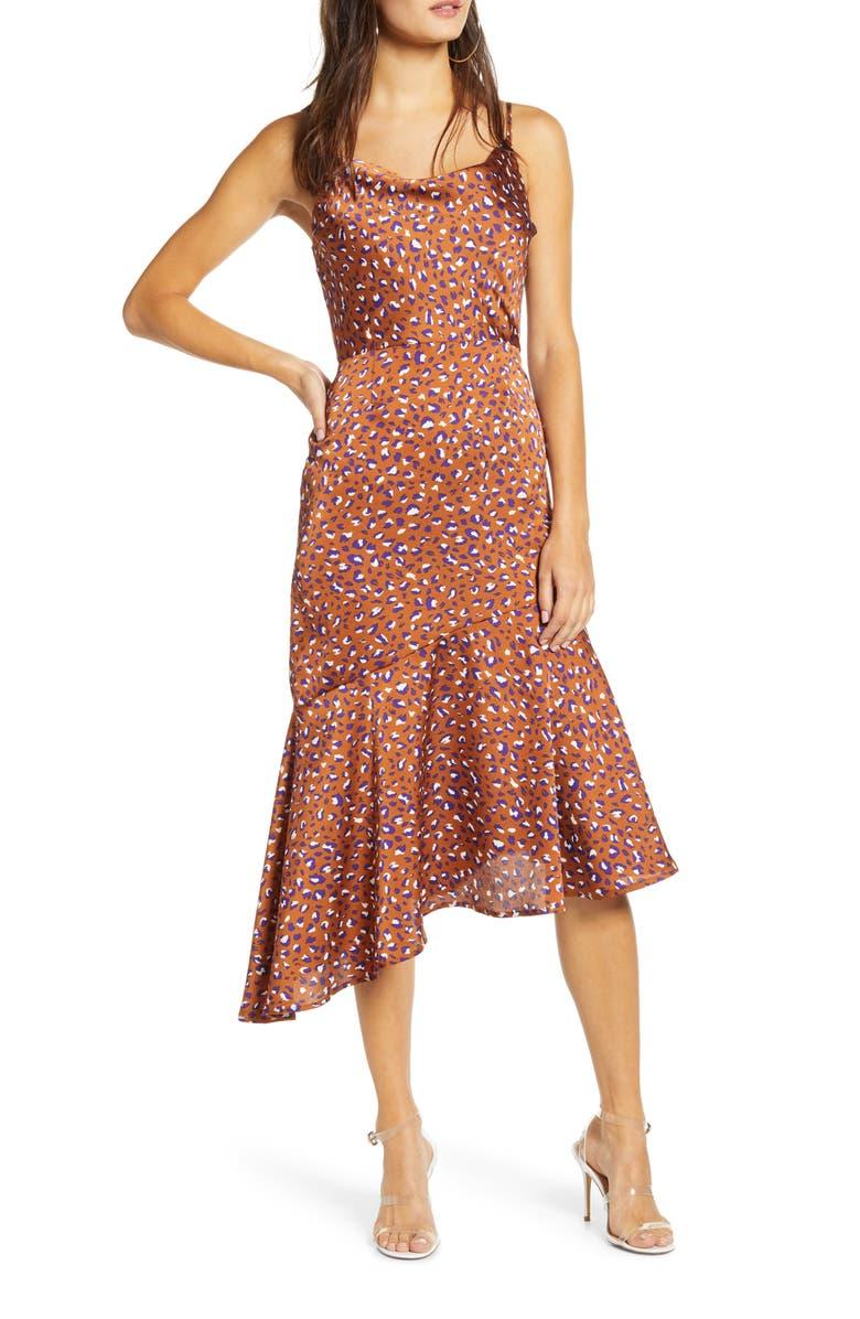 J.O.A. Cowl Neck Asymmetrical Dress, Main, color, 200