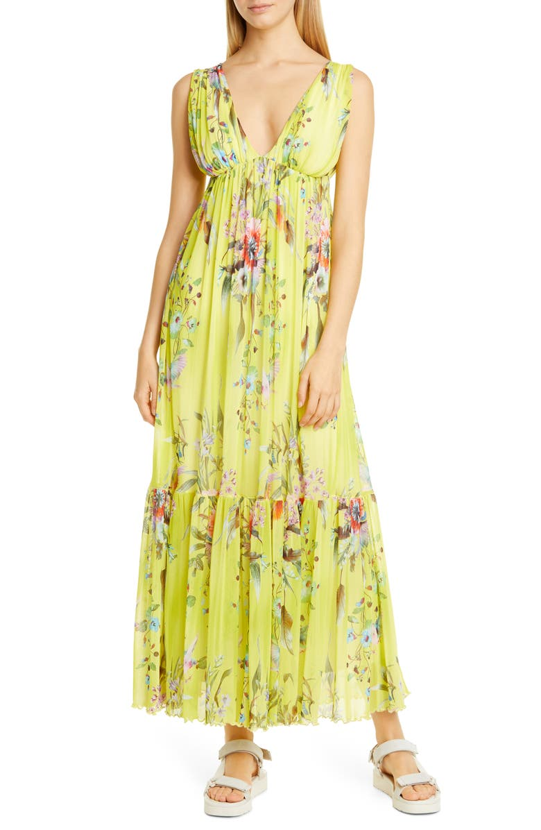 FUZZI Floral Print Mesh Maxi Dress, Main, color, CEDRO