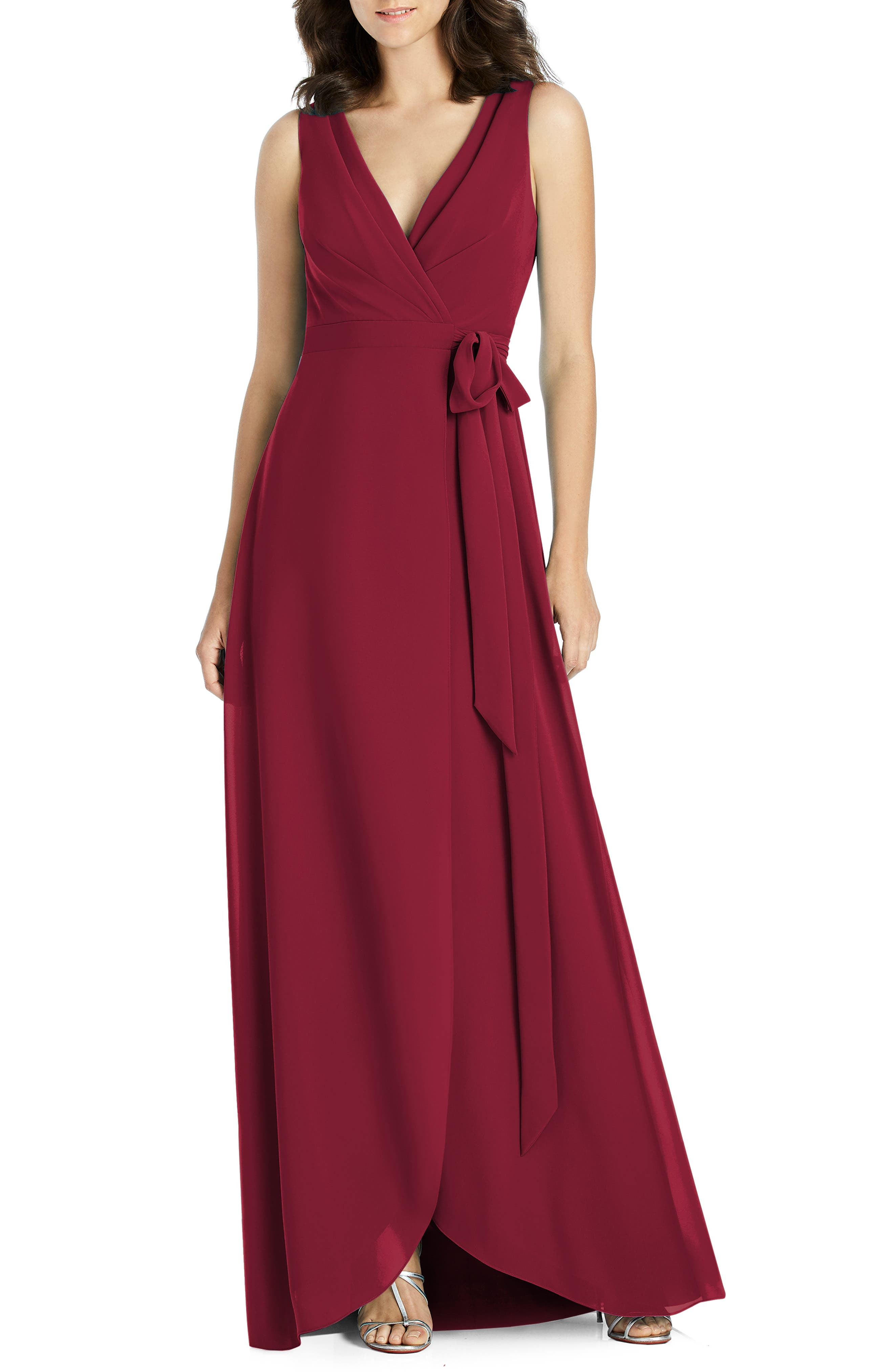 Jenny Packham Chiffon Wrap Evening Dress, Burgundy